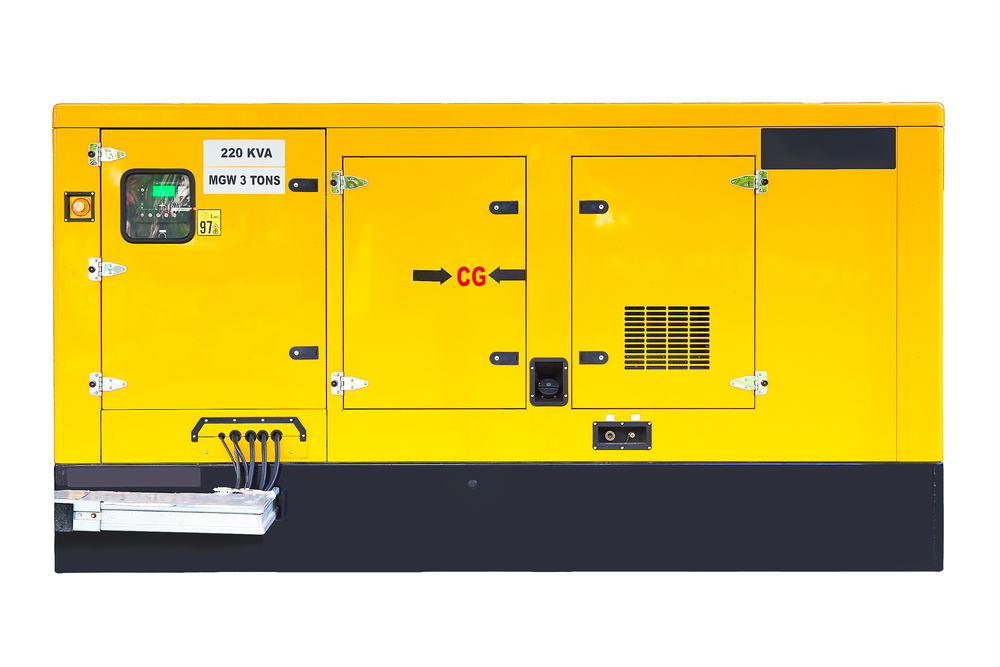 Yellow Auxiliary Diesel Generator for Emergency Electric Power.