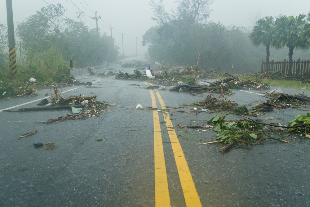 Debris blocking Long Island road during hurricane